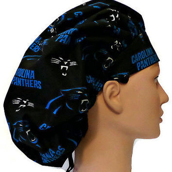 Women's Bouffant, Pixie, or Ponytail Surgical Scrub Hat Cap in Carolina Panthers