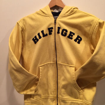 Vintage Tommy Hilfiger Yellow jacket Sweatshirt Hoodie.  Size Medium