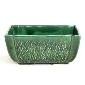 McCoy Emerald Green Planter - Long Rectangle Window Box Style, Asian Bamboo or Bonsai Garden Accent, Glazed Ceramic - Vintage Home Decor