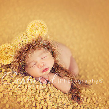 Baby Boy Hat Newborn Boy Crochet Knit LION Cub Hat With Ear Flaps Dipaer Cover Photography Prop Bonnet Baby Lion Hat Diaper Cover available