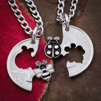 Lady Bug and BumbleBee Best Friends Necklaces