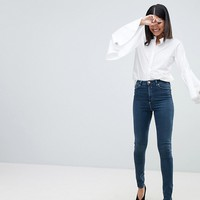ASOS TALL RIDLEY High Waist Skinny Jeans In Turya Aged Blue Wash at asos.com