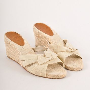 CREYU2C Tan Glitter Bow Espadrille Bow Wedge Sandals