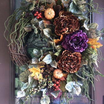 Thanksgiving Wreath, Fall Wreath, Door Wreath, Peony Wreath, Grapevine Wreath, Thanksgiving Wreath