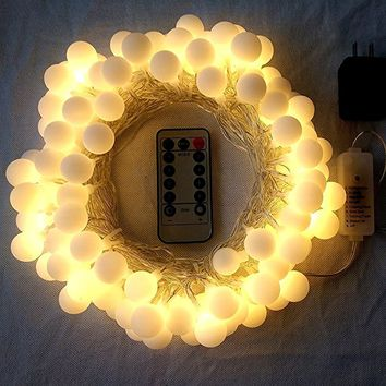 Frosted Warm White Globe Battery String Lights with Timer & Remote, Strand of 100, 33ft/10m, 8 Mode, Waterproof