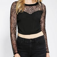 Urban Outfitters - Lush Sweetheart Lace Cropped Top