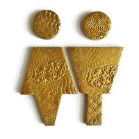 Antique Gold Bathroom Male Female Sign, Gold Bathroom Accessories, Guest Bathroom Sign, Washroom Sign