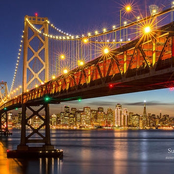 San Francisco Print, Bay Bridge Lights Photo, California Cityscape Print, Holiday Lights, Matted Print, Large Canvas, Bay Area, Fine Art