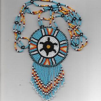 turtle necklace, native american,pow-wows, beadwork