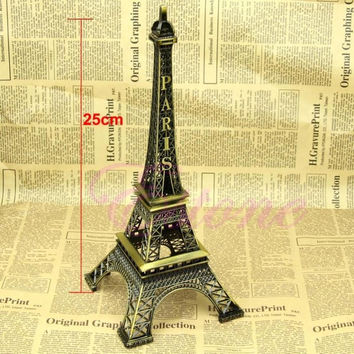Bronze Tone Paris Eiffel Tower Figurine Statue Vintage Alloy Model Decor 25CM