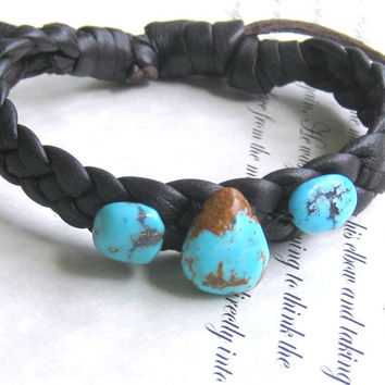 Sky Blue Turquoise Pebble Leather Bracelet Leather Cuffs Bracelets Wristbands Jewelry Bohemian Gypsy Hippie Accessory 2014 Trends