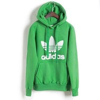 """Adidas""Trending Women Men Print Hooded Pullover Tops Sweater Sweatshirts Green G"