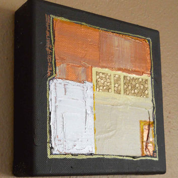 ADOBE original abstract modern painting - gallery fine art - contemporary interior design - ooak home wall decor - brown gold copper
