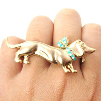 Dachshund Puppy With A Scarf Shaped Double Finger Animal Ring | Gifts for Dog Lovers