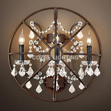 Vintage Orb Crystal Wall Sconce Lamp Wall Light Indoor Lighting for Home Hotel Restaurant Living and Dining Room Decoration