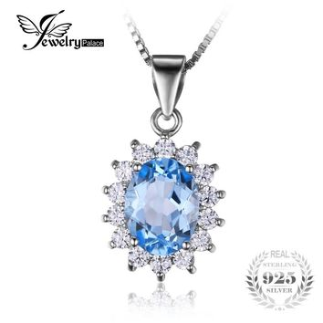 Jewelrypalace Princess Diana William Kate 2.3ct Natural Blue Topaz 925 Sterling Silver Halo Pendant Necklace 45cm Chain 2016