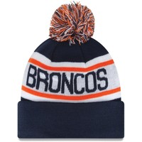 Mens Denver Broncos New Era Navy Blue Biggest Fan Redux Knit Beanie