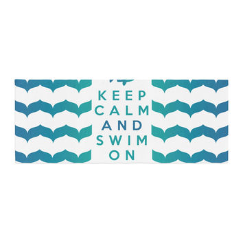 """Nick Atkinson """"Keep Calm and Swim On"""" Teal White Bed Runner"""