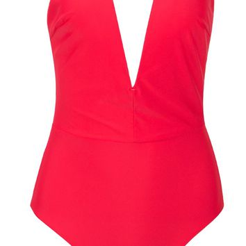 Beach Patrol Red Strapless Plunge V Neck Bodysuit Top One Piece Swimsuit