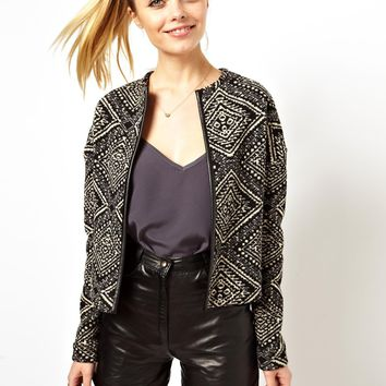 ASOS Blazer in Fairisle with PU Trim