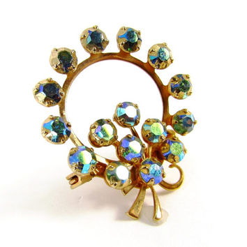 Vintage Rhinestone Circle Brooch Pin (Peacock, Blue, Green, Aurora Borealis, Crystal, Gold, Eternity, Wreath, 1950s, Retro, Costume Jewelry)