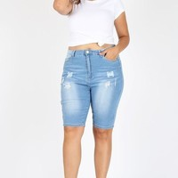 Light Wash Bermuda Shorts