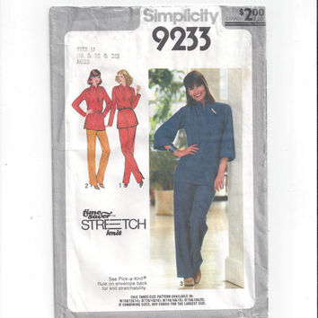 Simplicity 9233 Pattern for Misses' Pants, Pullover Tunic, Time Saver, From 1979, Vintage Pattern, Home Sewing Pattern, 1979 Fashion Sew