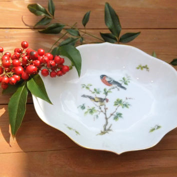 Vintage Vegetable Bowl,  AK Kaiser TIROL Serving Bowl,  West German Porcelain Scalloped Dish, Bowl with Birds on Branch, Bowl with Birds