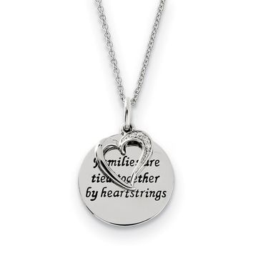 Rhodium Sterling Silver & CZ Families Are Tied Together Heart Necklace