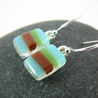 Modern Stripes Fused Glass Earrings - Blue, Brown, Green