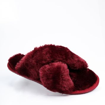 Cozy Toes Sliders - Burgundy