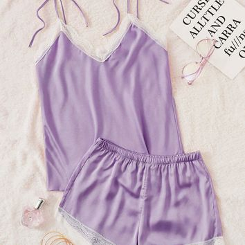 Lace Trim Satin Cami Pajama Set