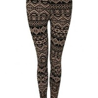 Pilot Aztec Print Legging in Black and Stone