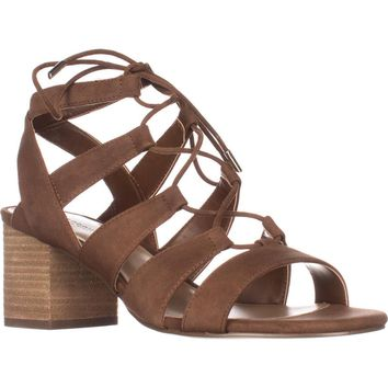 Call It Spring Ereissa Lace-Up Sandals, Cognac, 6.5 US