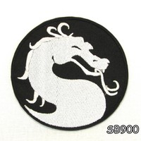 DRAGON IN ROUND SHAPE Iron on Small Badge Patch for Biker Vest SB900
