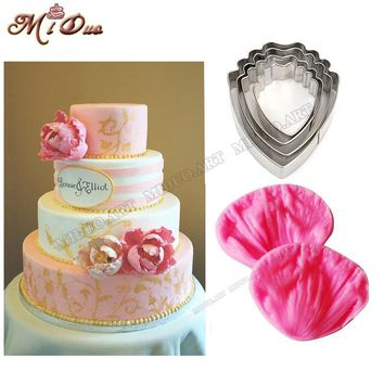 Peony Petal Silicone Veiner & Cutter Peony Fondant Sugarcraft Stainless Steel Cutter Flower Cutter Cake Decorating Moulds