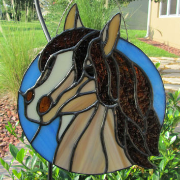 Stained Glass Horse Sun Catcher/ Light Catcher ~ Animal SunCatcher ~ Gift for horse lover