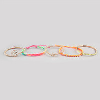 Full Tilt 5 Piece Neon Cord/Beaded Bracelets Neon One Size For Women 24232691001