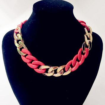 Gold Chunky Chain Collar Necklace For Women