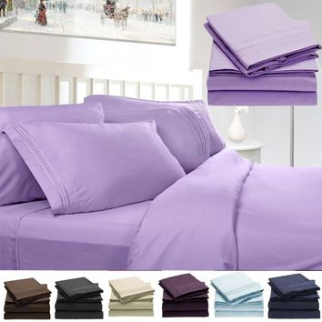 "3/4PCS Bed Sheet Set  - 1800 Thread Count Double Brushed Microfiber Bedding Set 18"" Deep Pocket Wrinkle & Fade Resistant"