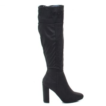 Miracle05s Black Vintage Knee High Pull-On Slouch Boots w Block Heel & Faux Fur Lining