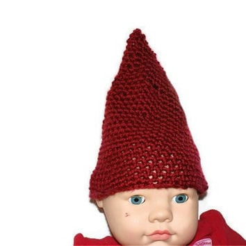 Red Baby Pixie Hat Elf Beanie Crocheted Photo Prop by lanacooper