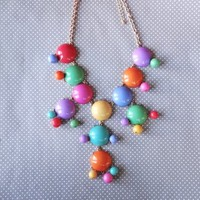 Multi-colored Full-Sized Bubble Necklace + Earrings from JuicyDealz