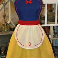 SNOW WHITE Costume APRON for Women. Disney Princess Inspired. Party Hostess Bridal Birthday Gift. Fits women sizes 0-12. Dress up cosplay