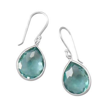 Freeform Faceted Hydro Quartz Pear Shape Drop Earrings in Sterling Silver