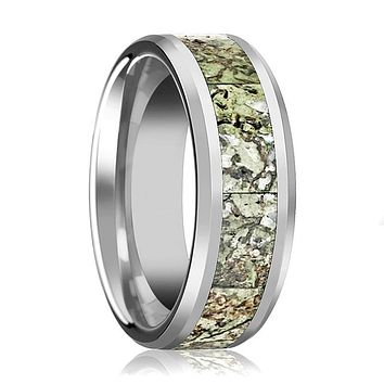 Dinosaur Bone Ring - Light Green Dinosaur Bone Inlay - Tungsten Wedding Band - Beveled - Polished Finish - 8mm - Tungsten Wedding Ring
