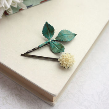 Ivory Flower and Branch Bobby Pins, Leaf, Verdigris Green, Green Teal Woodland Wedding Hair Pins, Ivory Mum and Leaf, Bridesmaid Bobby Pins