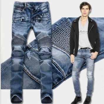 2017 New Balmai Biker Jeans Men High Stretch Cargo Denim Jeans with Zippers Pleated Slim Jean Men's Scratched Pants Trousers