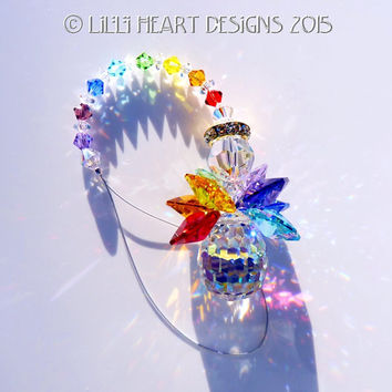 Suncatcher m/w Swarovski Crystal Angel with RARE Discontinued AB Pear Body and Colorful 7 Healing CHAKRA Colors Lilli Heart Designs