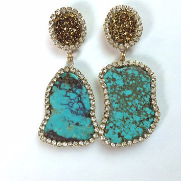 Turquoise Slice Earring Gemstone Slice Swarovski Crystal Turquoise Statement Earrings Gold Titanium Post Earrings - Zara 4